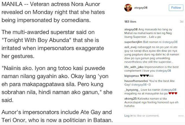 Ate Gay Reacts To Superstar Nora Aunor's Statements Against Her Impersonators: 'Ang Masasabi Ko Lang...'