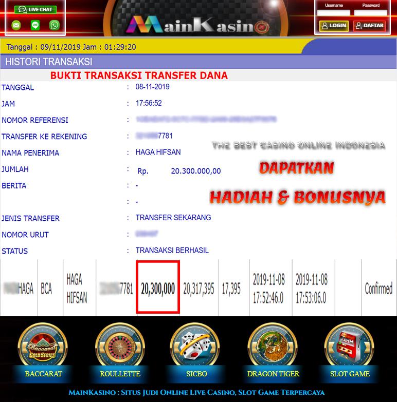 Selamat Kepada Member Setia MAIN KASINO Withdraw RP 20.300.000