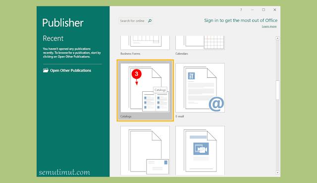 cara membuat katalog di publisher 2013