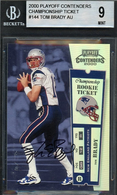Record-breaking sale of a rare Tom Brady rookie trading card for $400,100 sold in February 2019, the highest price for a football card sold at auction.