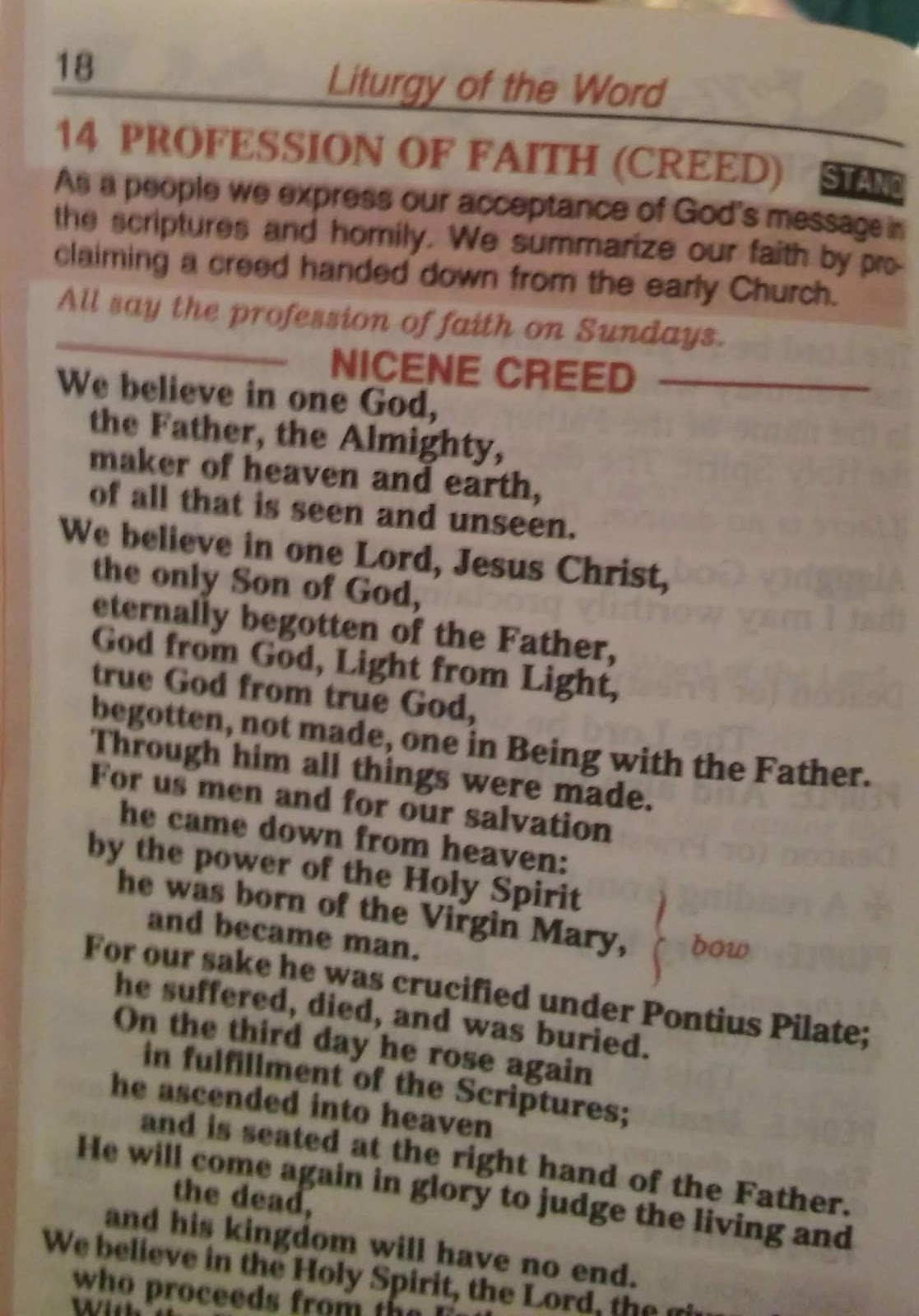 La Salette Journey Replacing The Nicene Creed With The Apostles Creed Every Sunday And The