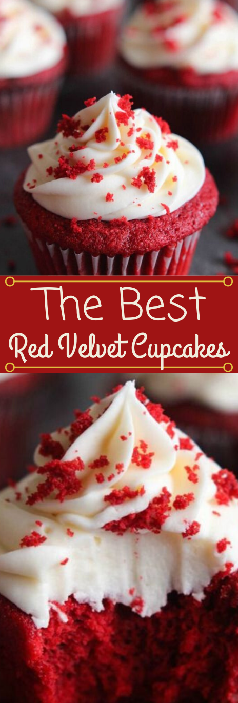 THE BEST RED VELVET CUPCAKES WITH CREAM CHEESE FROSTING #desserts #cakes #cupcakes #frosting #easy