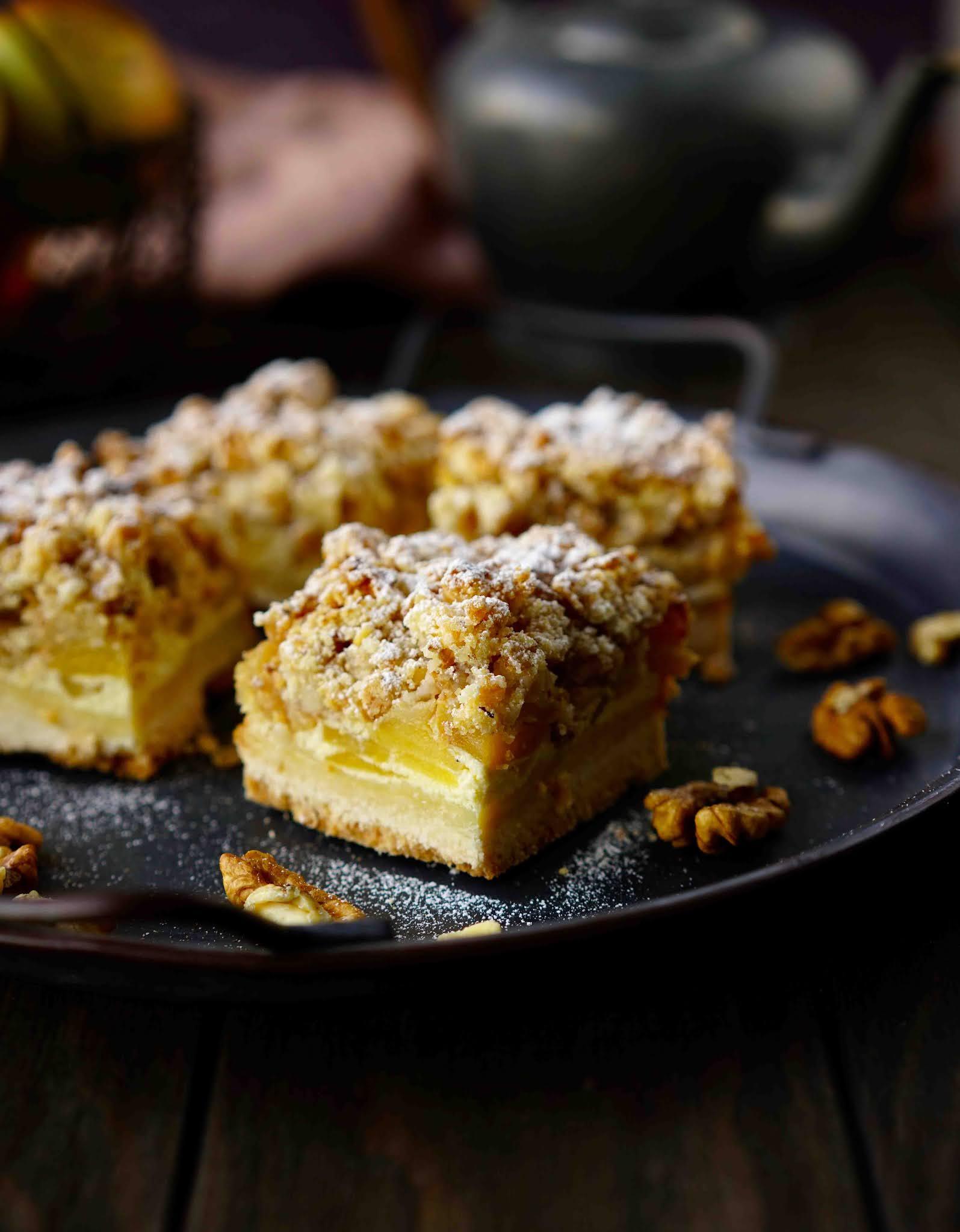 carrés , dessert facile , dessert rapide à faire , dessert aux pommes