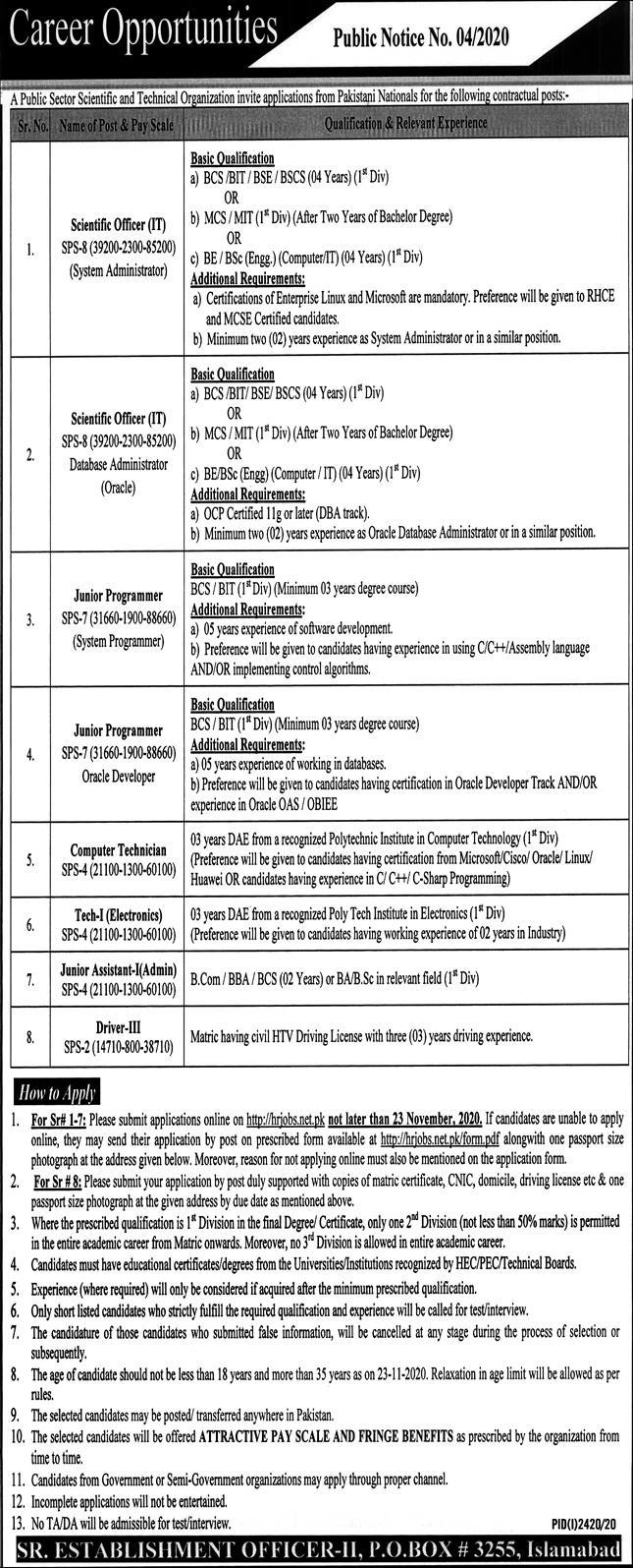 Public Sector Organization November Jobs in Pakistan - Online Apply - hrjobs.net.pk