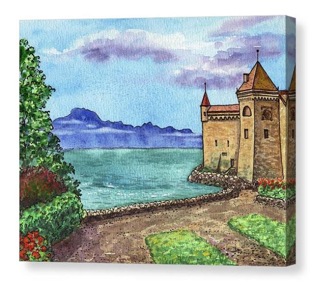 Chillon Castle Switzerland Watercolor Painting by Irina Sztukowski