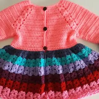 Vestido Abrigo Primavera de Bebé a Crochet
