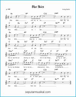chord blue skies lagu jazz standar