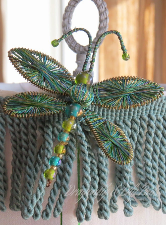 After, White, Lamp shade, Dragonfly Napkin Ring made into Shade embellishment