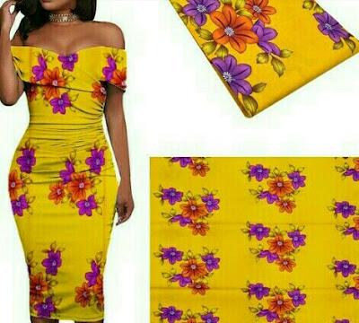 African Ankara Fabric: Women's Flower Print Dress - Romanzo