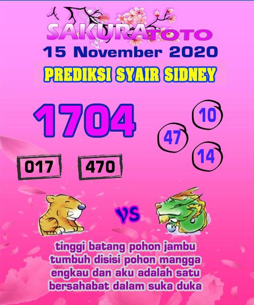Syair Sakuratoto Sidney Minggu 15 November 2020