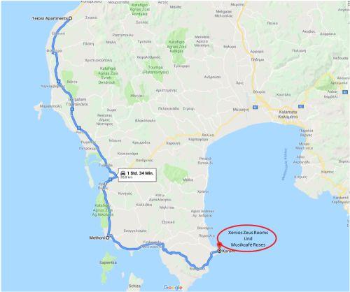 Messinien-Methoni-Koroni-Karte