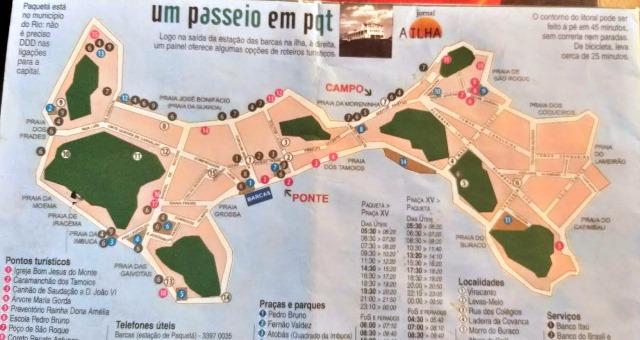 Paquetá, Rio de Janeiro. Mapa da Ilha