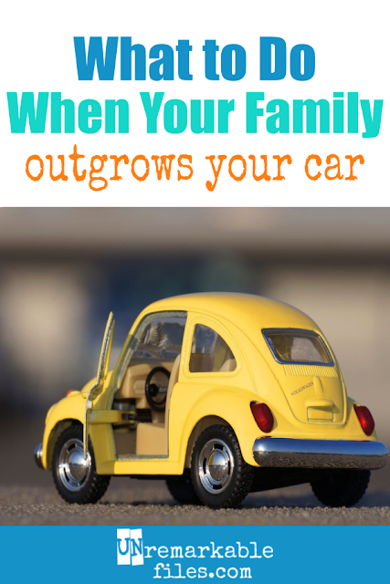 Our big family of 7 fit perfectly in our minivan, and then we got pregnant. We knew we were going to love having 6 kids, we just didn't know what to do about outgrowing our minivan! Though it might be a little unconventional, here is the large family car solution that worked for us. #bigfamily #largefamilies #familycar #2carfamily #6kids #unremarkable