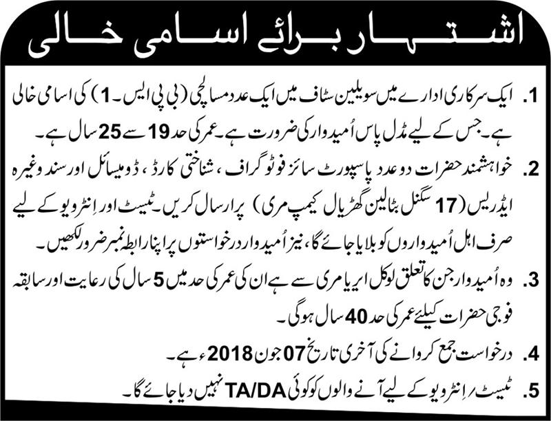 Civilians Quota Jobs for Misalchi, 17 Signal Battalion Murree Camp