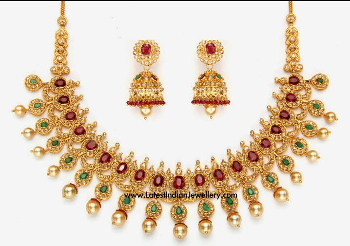 Uncut Diamond Ruby Emerald Necklace