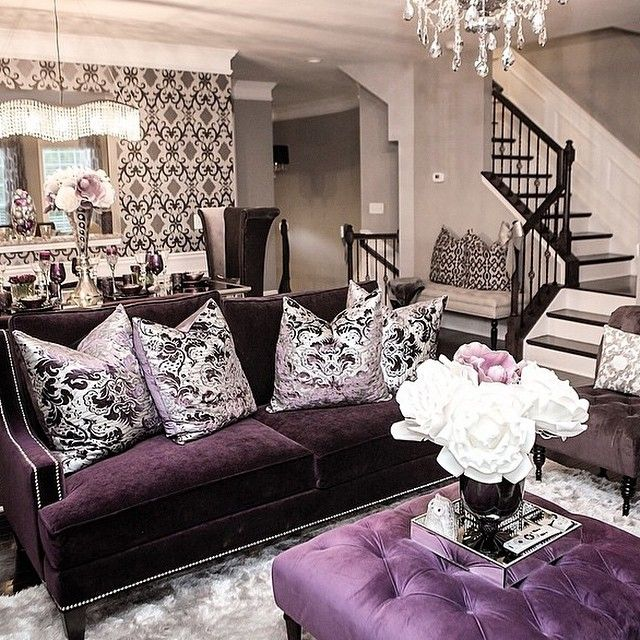 Purple Living Rooms Design Pictures Remodel Decor and Ideas for Modern Home