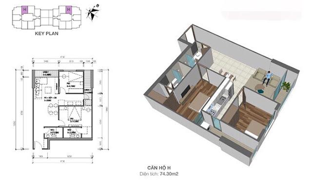 Thiết kế căn hộ Eco dream loại H - 2 phòng ngủ