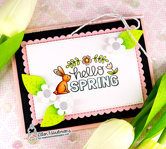 Hello Spring Card by Ellen Haxelmans | Hello Spring Stamp Set, Flower Trio Die Set and Frames & Flags Die Set by Newton's Nook Designs #newtonsnook #handmade