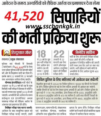 UP Police Constable Recruitment 2018 41,520 Bharti CM Yogi News