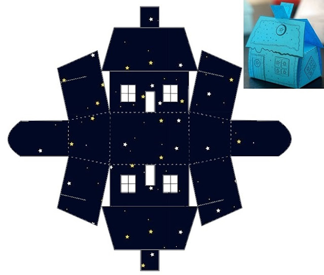 The Space in Black: Free Printable House Shapped Box.