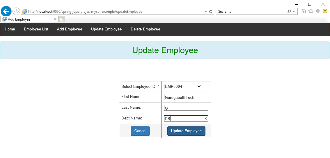 CRUD operations in Employee management using Spring, jQuery