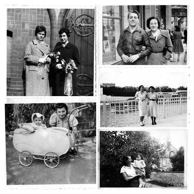 album photos noir et blanc, couples et deux.