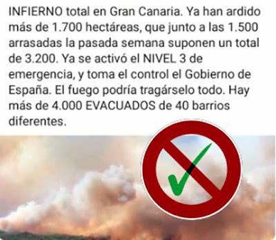 Bulo que corre por las redes sociales sobre nivel 3 del incendio de Gran Canaria