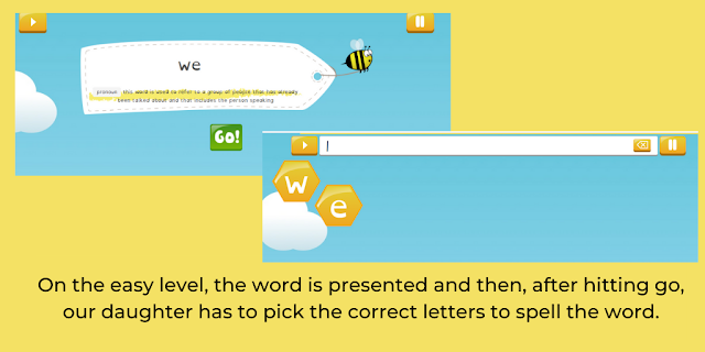 showing two screens of Spelling Shed; text: on the easy level, the word is presented and then, after hitting go, our daughter has to pick the correct letters to spell the word.