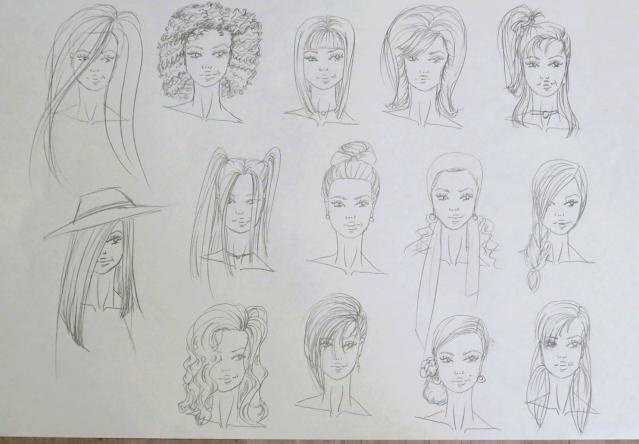 Dibujo de distintos peinados para figurines de moda trazados a lápiz