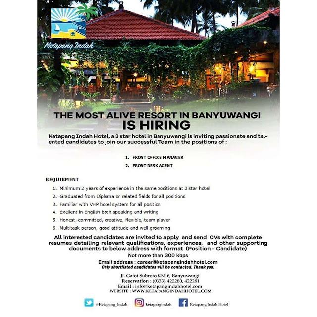 Lowongan Kerja Ketapang Indah Hotel Banyuwangi 2020