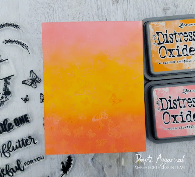 Tone on tone stamping with Distress Oxides