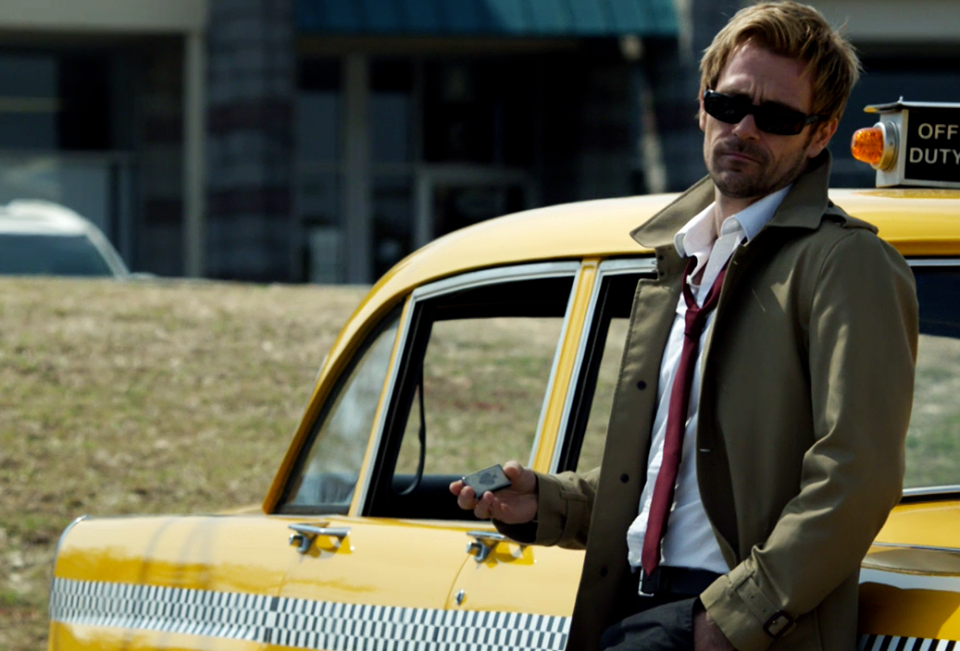 Matt Ryan as John Constantine with sunglasses in NBC Constantine Season 1 Pilot Episode Non Est Aslyum