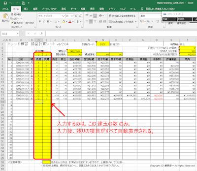 トレード練習の損益計算EXCELシート ver2.04(チャートギャラリー対応版)