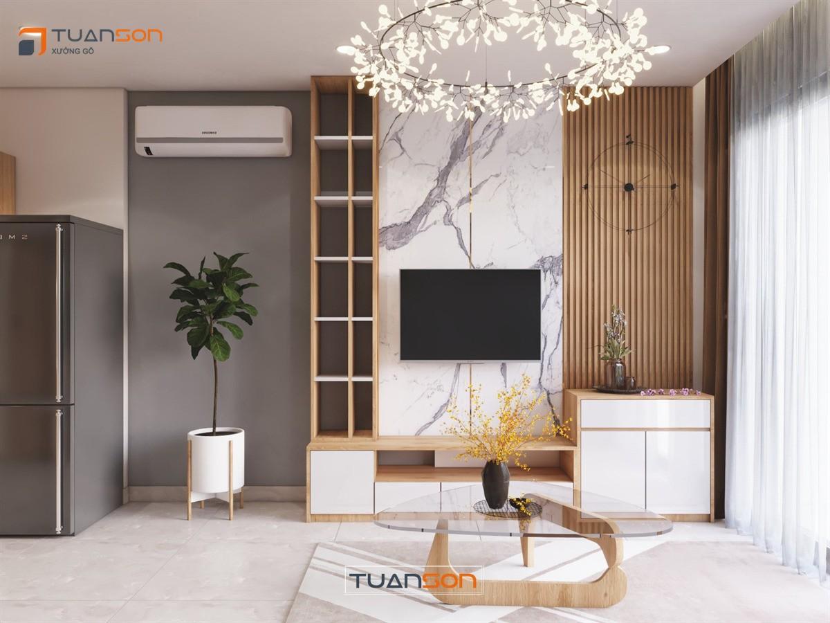 Thiết kế nội thất phòng khách Vinhomes Ocean Park
