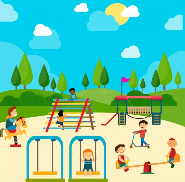 Playground drawing children icons colored cartoon Free vector