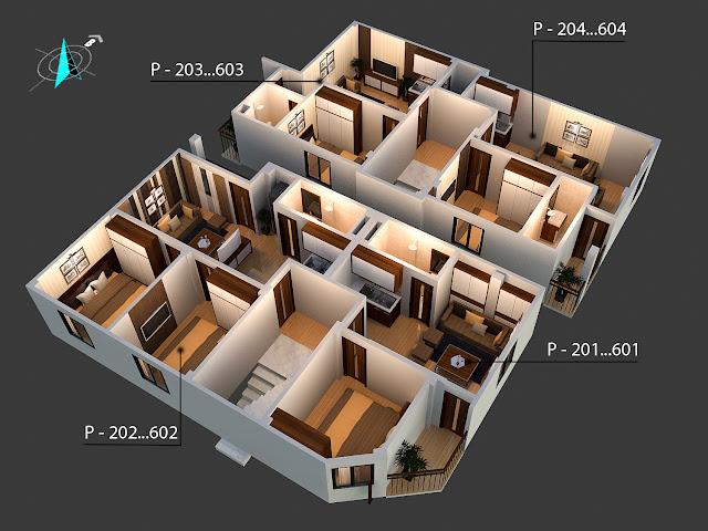 Mặt bằng thiết kế căn hộ chung cư mini Minh Đại Lộc 3
