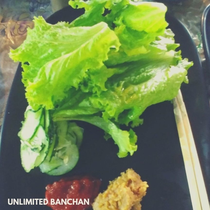 Lettuce leaves and sauces at UKB 199 Unlimited Korean Barbecue Buffet