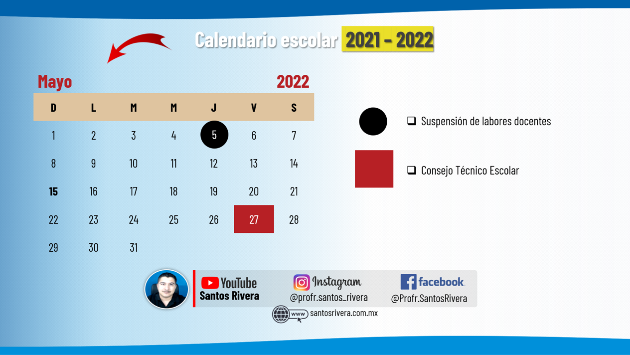 calendario escolar del mes de mayo 2021 - 2022