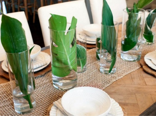 Palm Fronds in Vases Tabletop Centerpiece on Burlap Runner