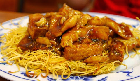 Tofu and Fish Fillets with Crispy Egg Noodles