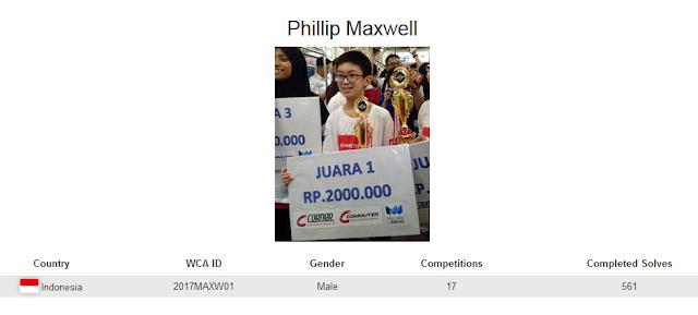 Profile akun WCA dari Phillip Maxwell yang merupakan peringkat keempat nasional dalam menyelesaikan banyak rubik dengan mata tertutup di Indonesia