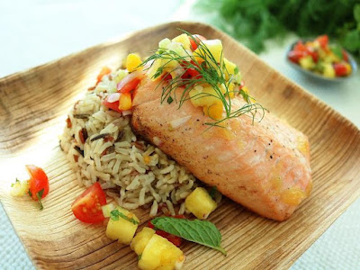 Pineapple Salmon with Rice & Salsa