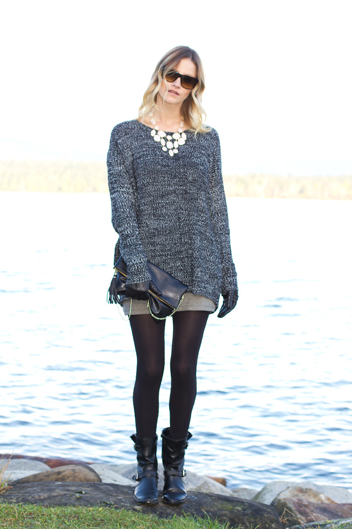 Vancouver Fashion Blogger, Alison Hutchinson, wearing XO Bella oversized grey maxi sweater, grey bodycon mini skirt from Urban Outfitters. Anne Klein black biker boots, H&M opal statement necklace, H&M black leather bag, Danier Black leather gloves, Versace sunglasses, and Kenneth Cole watch