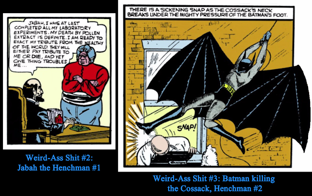 Left: Detective Comics (1937) #29 Page 1 Panel 4 featuring Doctor Death talking with Jabah, his henchman; Right: Detective Comics (1937) #30 Page 8 Panel 6 featuring Batman killing Doctor Death's other henchman, the Cossack.