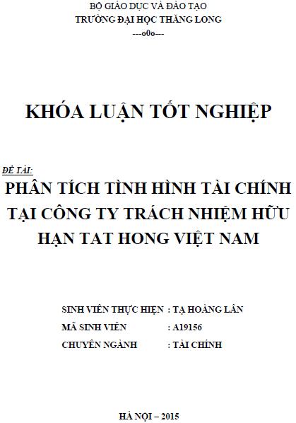 Phân tích tình hình tài chính tại Công ty TNHH Tat Hong Việt Nam