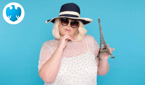 Barclays offers holiday makers the chance to cash in their souvenir slip-ups at a one-day swap shop run by Gemma Collins