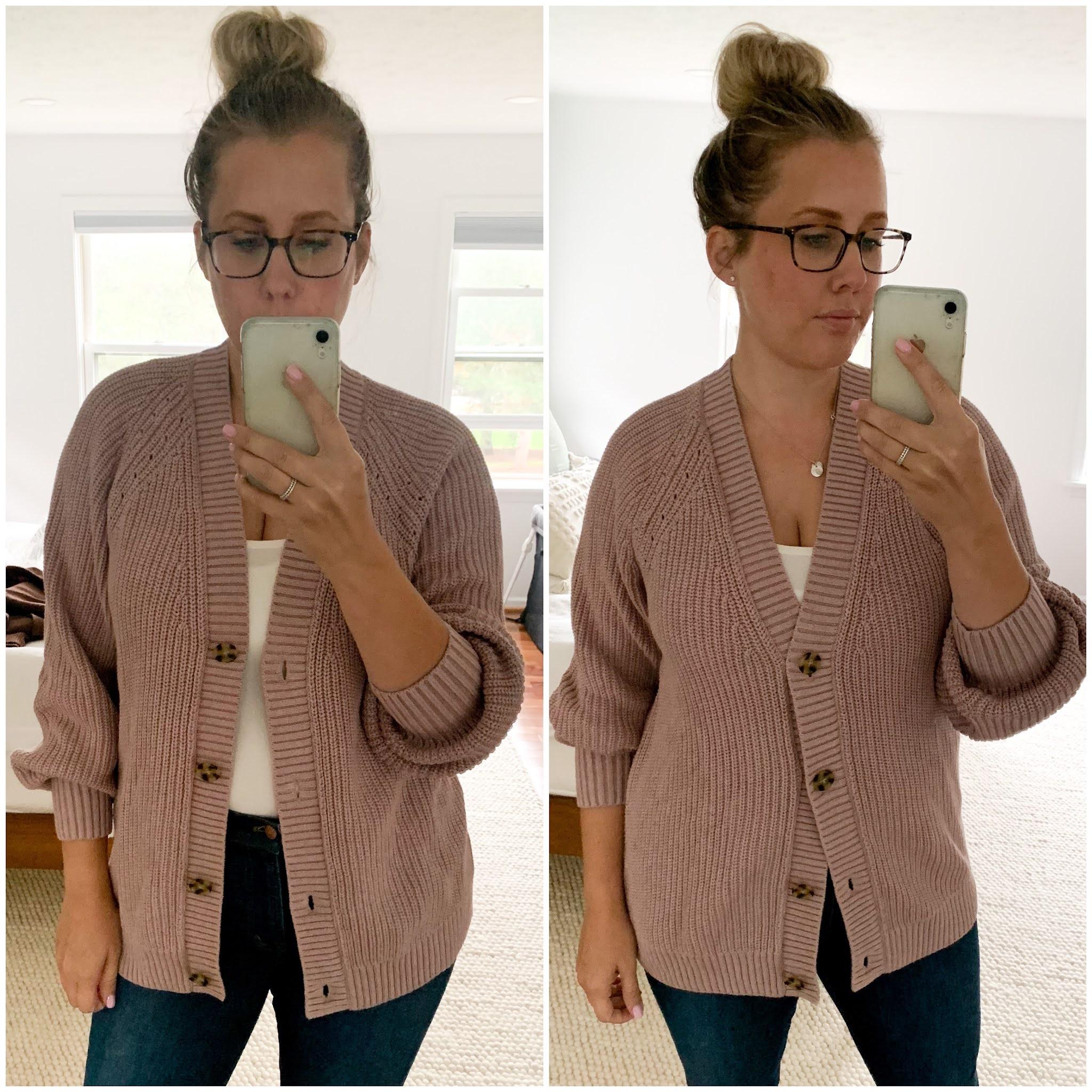 gap boyfriend shaker-stitch cotton cardigan