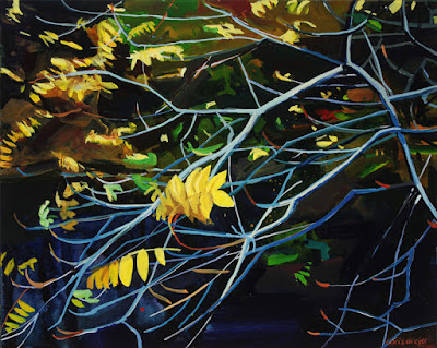 Acrylic painting of a tree in autumn with yellow leaves