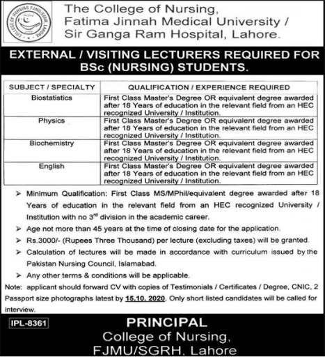 Visiting Lecturer Jobs 2020 For Male and Female