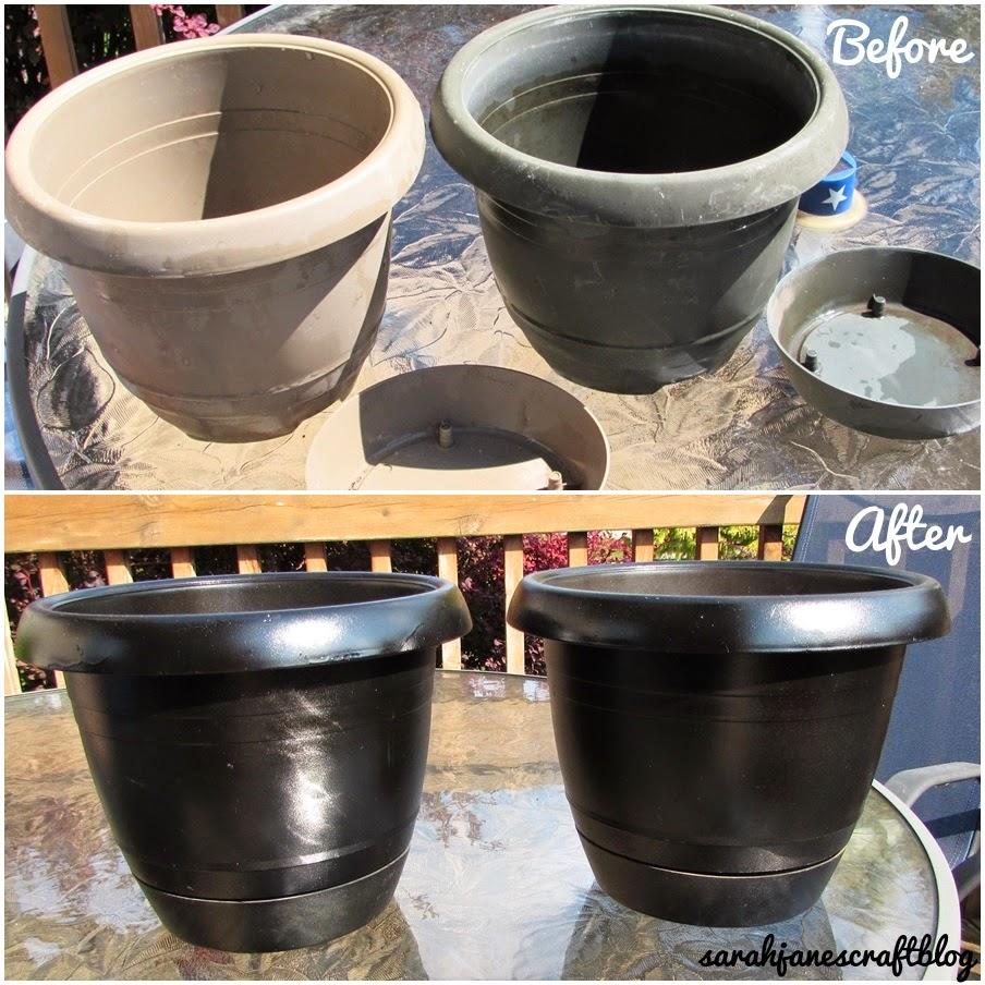 Sarah Jane's Craft Blog: Spray Painted Plastic Flower Pot